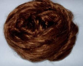 Mulberry silk roving, silk spinning fiber, papermaking, dolls hair, pure silk, felting fiber, spinning fiber, GOLDEN BROWN, 20g, 0.7oz