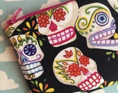 SALE - Day of the dead skull pouch, coin purse, change purse, small zipper pouch
