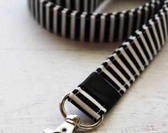 Cute key lanyard - striped lanyard - badge holder lanyard - black lanyard - work lanyard - teachers lanyard - black and white lanyard