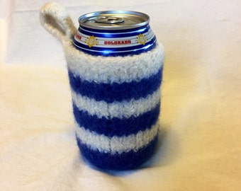 Felted Can Cozy in Blue and White