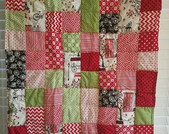 Moving Sale Spring time in Paris Red Baby Quilt - lime green, red, white, black 315