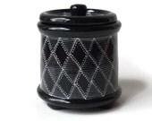 Black and White Lidded Jar with Feet- Salt Jar Sugar Jar