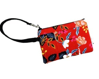 Birch Floral Red Wristlet, Fabric Wallet Wristlet, iPhone Wristlet, Zipper Wallet, Wristlet Purse