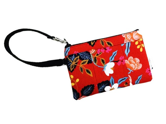 Birch Floral Red Wristlet, Fabric Wallet Wristlet, iPhone Wristlet, Zipper Wallet, Wristlet Purse, Small Wristlet