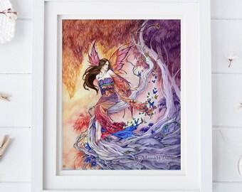 Kimono Fairy Art, butterflies, Enchanted Forest, Fairyland, Japanese kimono dress,  8x10 print, red and purple