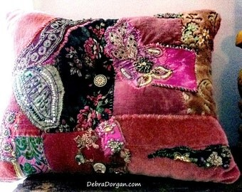 Opulent Pink Velvet Cushion. Boho Chic Pillow, Patchwork, Antique Embroidery, Small Pillow, Bohemian, Gypsy, Home Decor, Cushion