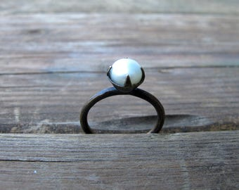 Pearl Solitaire Ring in and Antiqued Brass Setting - Size 8 OOAK