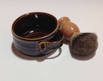 High Gloss Rich Brown Shaving  Mug Set with Badger Brush