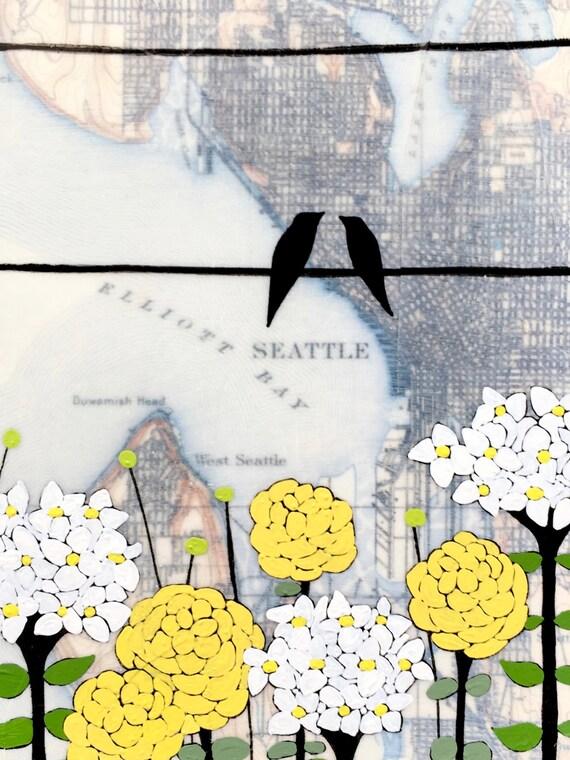 NEW // Pretty Seattle Card // Cute Everyday Card // Map Card // Washington Card // Love Bird Card // Blank Card // Rachel Austin Cards