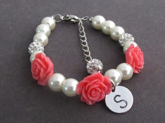 Flower Girl Bracelet,Red Roses,Rose Flowers,Flower Girl Gift Jewelry,White Pearl Childrens Bracelet,Little GirlsJewelry,Free Shipping In USA