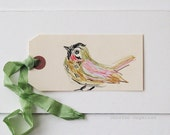 Art on a tag, bird, tag art, original art