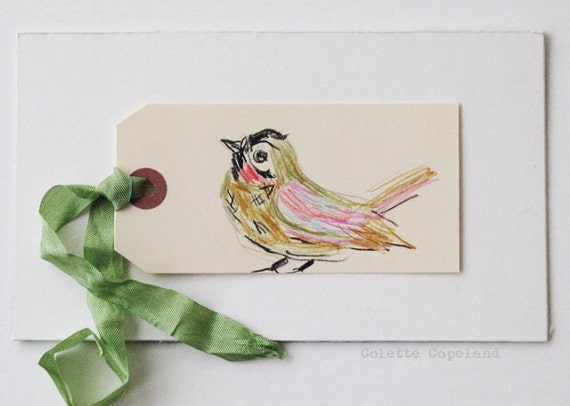 Art on a tag, bird, tag art, original art