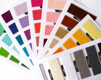 SWATCH CARD felt colours x60
