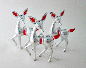 3 Vintage Silver Plastic Deer Christmas Ornaments - Vintage Holiday Decoration Supply