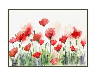 Watercolor Poppy Field Note Cards Notecards Red Poppies Poppy Prints Stocking Stuffers Poppy Lovers Gift for Her Mother's Day Gift