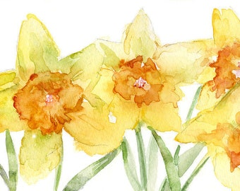 Watercolor Easter Daffodils Original Painting, Yellow Daffodil, Daffodil Art, Spring Flowers