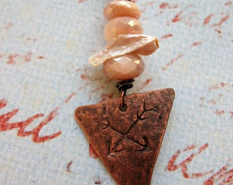 Mystic Peach Moonstone, Keshi Pearl and Iridescent Copper Crossed Arrows Triangle Pendant - 1.75 inches