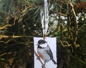 Black Capped Chickadee Glitter Holiday ornament - Hand-Painted from Portland Oregon