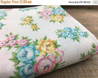 40% OFF- Vintage Floral Fabric-  Reclaimed Vintage Bed Linens Fabric