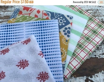 40% OFF- Reclaimed Bed Linens Fat Quarter Bundle-Red White and Blue