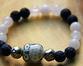 Earthy Gemstone Energy Healing Bracelet Essential Oil Diffuser Rose Quartz and Owl and Lava Stone