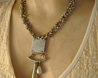 The Voyageur - Antique French Tramways Transportation Token Vintage Silver Key Recycled Assemblage Jewelry Necklace