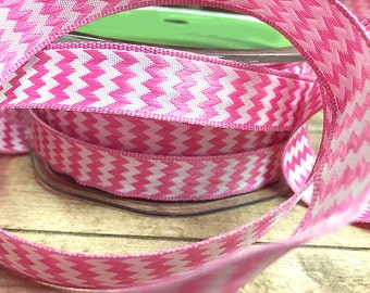 """1 Yard of Pink and White Chevron Ribbon, 5/8"""" wide, 100% Polyester, Sewing, Scrapbooking, Card Making, Home Decor, Trend, Fun, Girl, Sweet"""