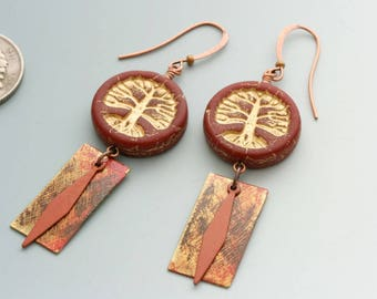 Tree of Life Earrings. Red Czech glass beads paired with handmade and vintage charms.