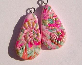 Under the Sea Teardrop Charms Handmade Artisan Polymer Clay Pair