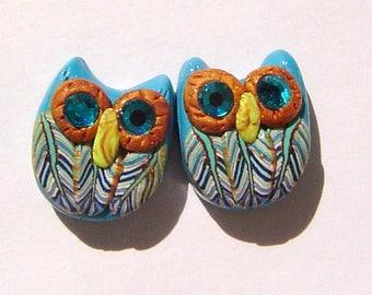 Handmade Owl Polymer Clay Bead Pair