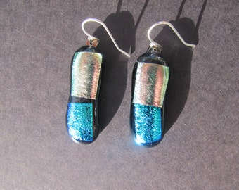 Silver/Pink and turquoise dichroic glass on black glass earrings