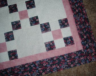 Quilt Top to Finish Pink Purple Floral Irish Chain 48 x 48 inches