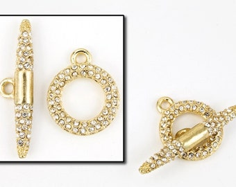 18mm x 15mm Bright Gold Pavé Toggle Clasp #CLA161