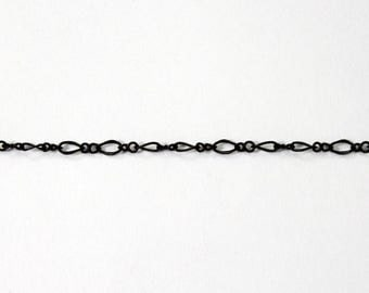 3mm x 2.5mm Matte Black Figaro Chain #CC90