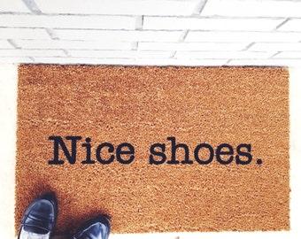 Nice shoes. Your Custom Mat. Bonjour! #nofilter Hello! Natural CoCo Modern Welcome Mat Custom Doormat