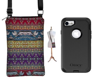 cell phone case  w/ zipper pocket,  small cross body purse,  iphone 7 plus wallet case otterbox, Droid, Google Pixel, Boho Kilim fabric RTS