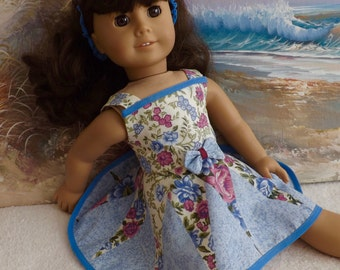 "18"" Doll Dress OOaK Romantic Set Blue and Mauve 1980s Vintage Fabric Circle Skirt Medley Will Fit Like AG Made with Vintage Fabric"