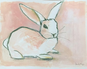 original acrylic painting bunny rabbit pink and white art cottontail spring decor wall art, girls room