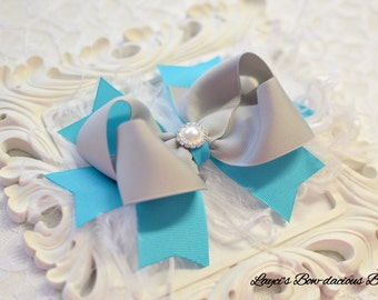 Silver and Turquoise Sassy Bow with Spikes - Choose Bow or Headband - large bow with feathers - girls bows - bows with spikes