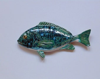 Porgy ceramic fish art decorative wall hanging
