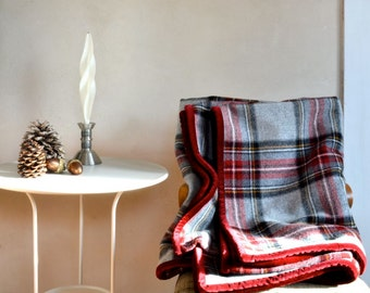 Plaid Wool Blanket Large Size Thick Warm Gray Stewart Plaid w/ Red Velveteen Edge