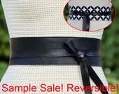 60% off - SAMPLE SALE!!! Black leather reversible 3 inch wide sash belt - bonus black & white Mod Nod print size Medium / Large Cyber Monday