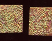 Lot of 4  Polymer  clay Textured  Undrilled  Cabs or Tiles  green, plum, gold TLSG 2