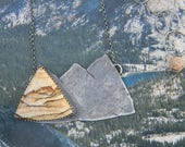 Mountains Necklace - sterling silver and picture jasper pendant necklace - oxidized and rustic - hidden message - Explore