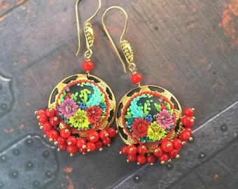 fiesta de las cerezas - mexican embroidery inspired earrings