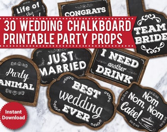 30 Wedding Photo Booth Props, Printable Chalkboard props, Printable Wedding props, Funny photo booth signs, Wood signs, speech bubbles