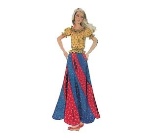 70s uncut Swirl Skirt pattern Maxi Skirt pattern Long Skirt pattern Waist 24.5 Simplicity 6306