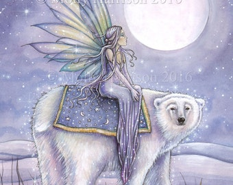 Moonlit Solstice - Polar Bear and Fairy - Fantasy Fine Art Giclee Print - 9 x 12 - Winter, snow, watercolor
