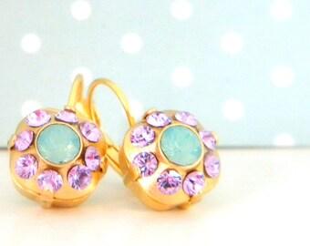 Violet Green Opal Cushion Cut Earrings