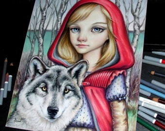 Little Red Riding Hood - original art by Tanya Bond - fantasy illustration pastels girl wolf fairy tale pop surrealism